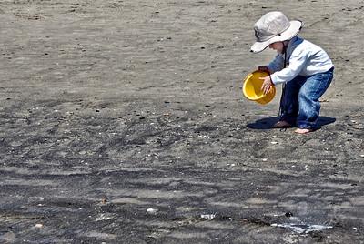 Little Boy and Yellow Bucket Oceanside CA