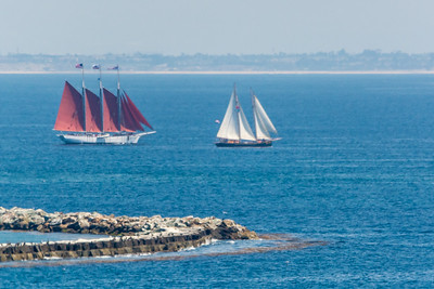 """The graceful three-masted schooner American Pride (red sails) was built in 1941, originally as a two-masted """"schooner-dragger"""" and launched as the """"Virginia"""". She spent over forty years commercially fishing the Grand Banks and George's Banks. Her career spanned the New Englandports of New Bedford and Gloucester in Massachusetts, Rockland in Maine.  She was a working fishing boat, spending weeks at sea in search of Cod, Haddock, Flounder, and Ocean Perch. From 1968 to 1986 she was known as the """"Lady in Blue"""", named after a prayer, and was captained by Sam and Paul Frontiero, father & son who fished out of Gloucester. In 1986, she was completely rebuilt in Thomaston, Maine, and certified by the United States Coast Guard. The restoration included adding a third mast, watertight bulkheads, new deck, bulwarks, interior, rigging, machinery, etc. She was renamed the """"Natalie Todd"""", and operated as a charter boat out of Bar Harbor, Maine. In October of 1996, she was purchased by the Children's Maritime Foundation, and began her historic 7,500 mile sail through the Panama Canal to her new home in Rainbow Harbor, Long Beach, California."""