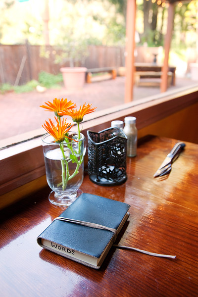 My little black book, always on hand. One side is for Thoughts, the other is for Words.<br /> <br /> We stopped for Happy Hour at the Big Sur Roadhouse. It was overrated and overpriced, but it did the job. Giddy Hour.