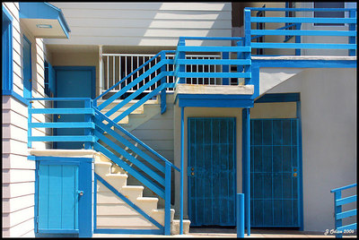 White and Blue Stairway  Venice Beach CA