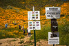 Warning signs at the spring poppy fields in Walker Canyon near Lake Elsinore, California, USA.