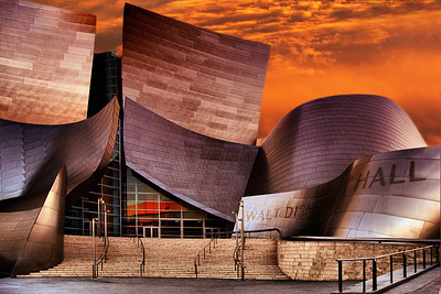 Sunset at Walt Disney Music Hall