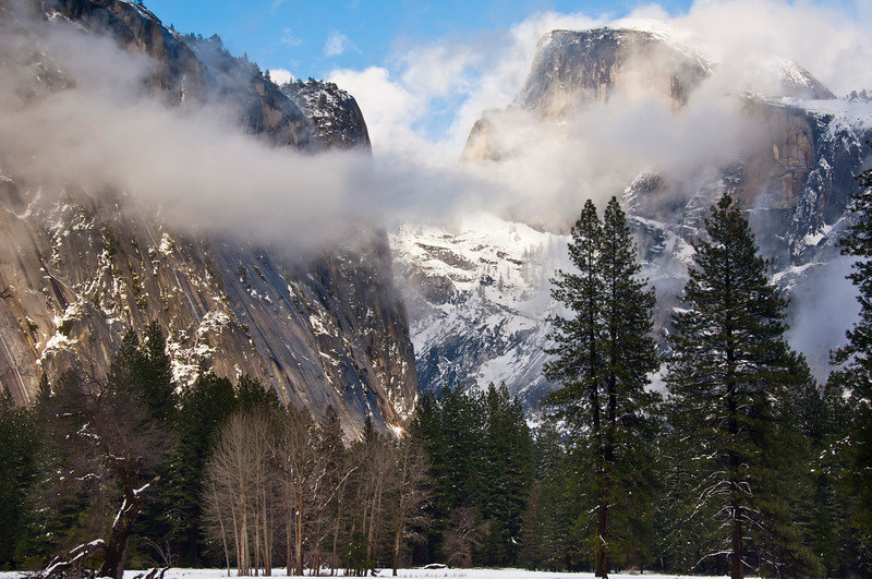 usa; california; yosemite national park; landscapes; half dome; plants; trees; pines; sycamores; winter; storms; snows; clouds