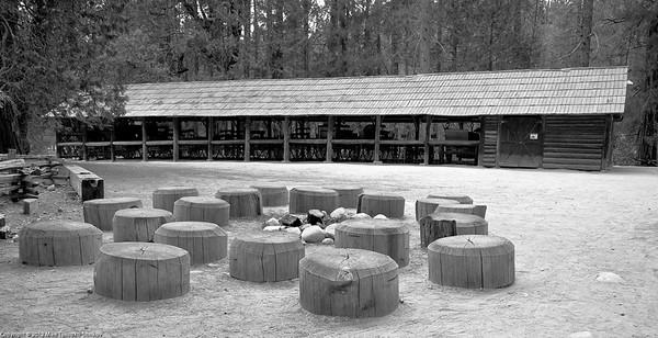 Wawona Village. Fireside seating and carriage barn