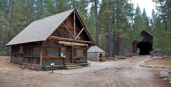 Wawona Village. Yosemite Transportation Company office + covered bridge