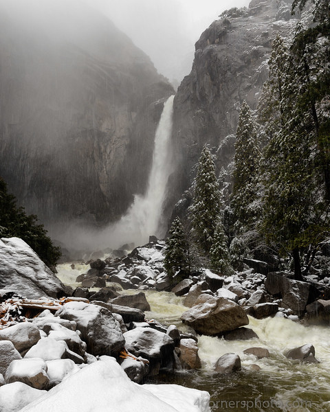 Snowstorm and Lower Yosemite Falls, Mariposa County, CA