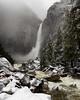 Snowstorm and Lower Yosemite Falls, Mariposa County, CA