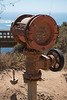 Old contraption next to Bixby bridge on CA highway #1, probably part of a water pump. California is famous for its arid climate.