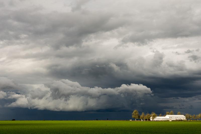 Spring Storm and Barn, San Joaquin County, CA