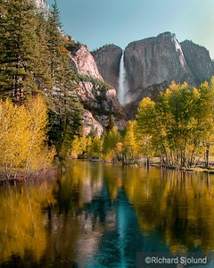 Yosemite Falls and Merced River in Yosemite National Park California