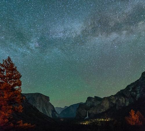 The Night Sky over Tunnel View, Yosemite