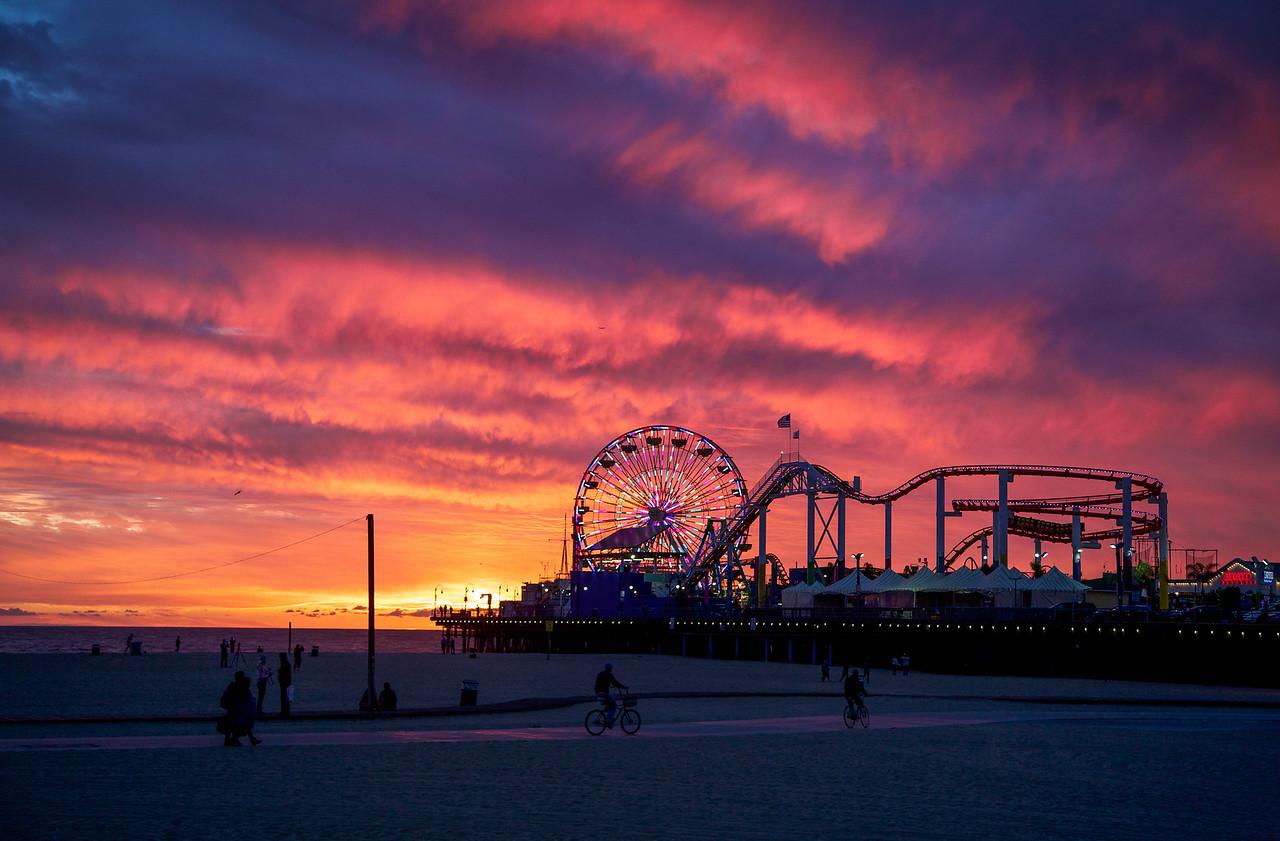Santa Monica Ferris Sunset