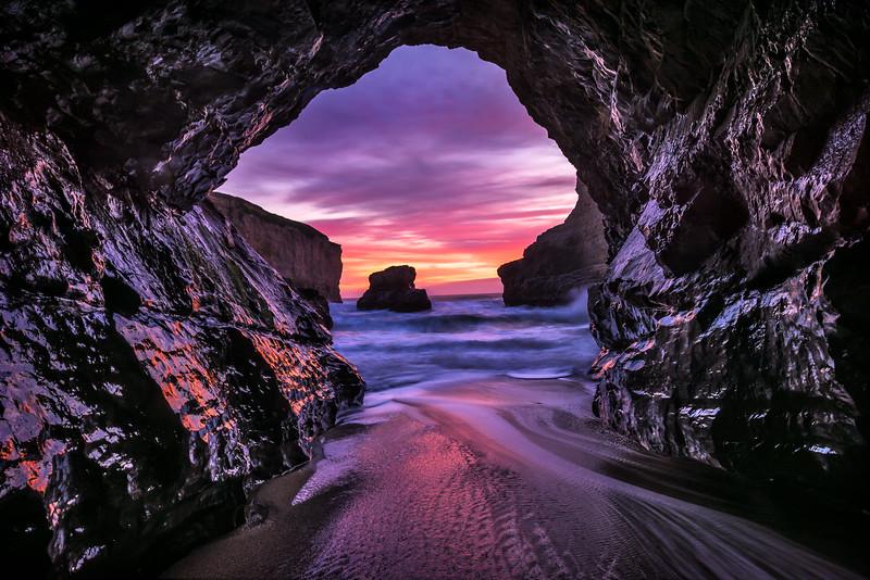 Sea Cave Sunset