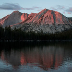 The sun is setting and casting beautiful pink colors on the high mountains. This is located at Young Lakes in Yosemite National Park in Calif. This was taken Tuesday evening of August 26, 2015. (© Erica Jacques 2015)