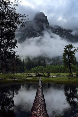Fog and Sentinel Rock, Mariposa County, CA