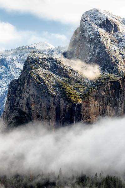 Fog and Bridalveil Falls, Yosemite National Park