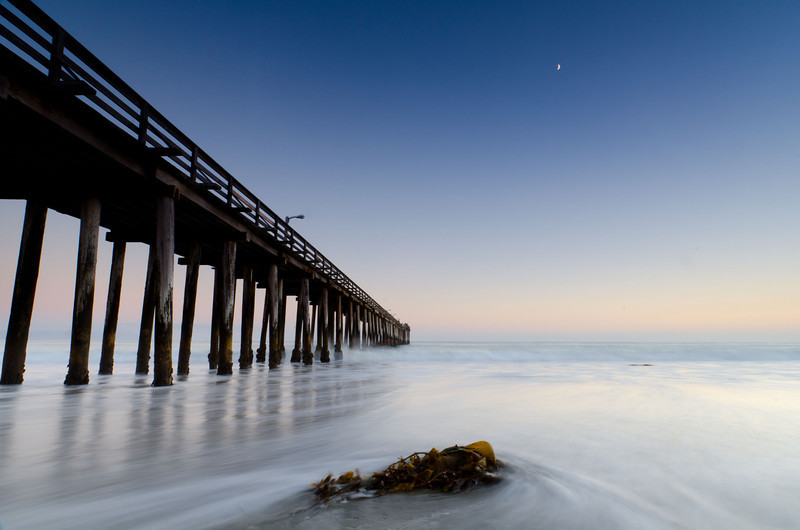 Cayucos pier in moonlight