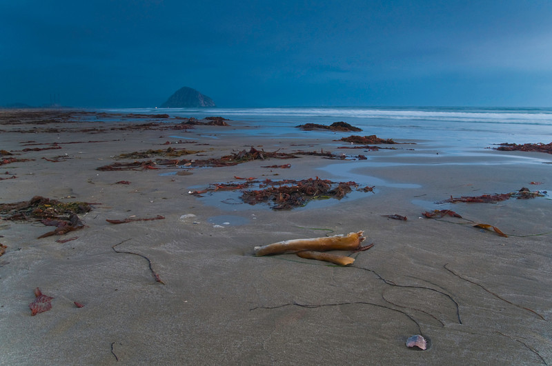 Morro Rock at Dusk<br /> Morro Strand State Beach, Morro Bay, California