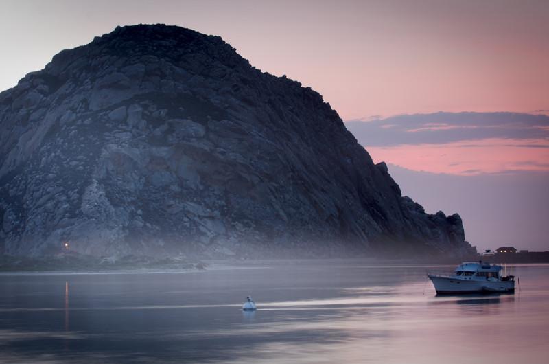 Settling Fog at Morro Rock<br /> Morro Bay, California