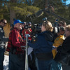 The California Department of Water Resources Chief of Snow Surveys, Frank Gehrke, is interviewed by the news media after conducting winter's first snow survey at Phillips Station near Echo Summit on January 3, 2014. Photo courtesy of California Department of Water Resources.