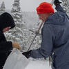 Frank Gehrke, Chief of Snow Surveys for the California Department of Water Resources, conducts the winter's second snow survey at Phillips Station near Echo Summit on January 30, 2014. Photo courtesy of California Department of Water Resources.