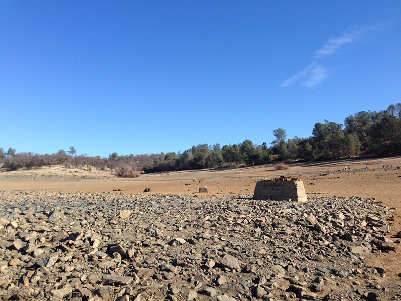 Remnants of the town of Mormon Island have emerged from the dry Folsom Lake bed.