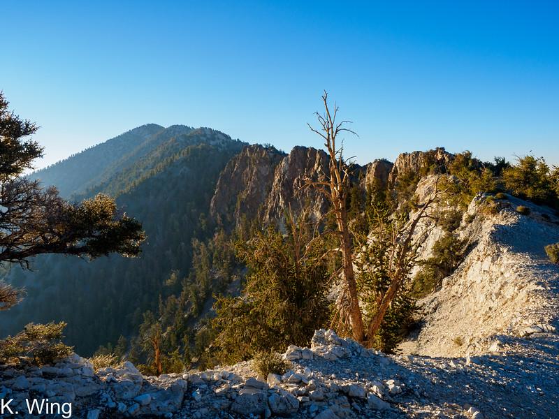 The ridge to Keynot Peak - Sun exposure and haze prevented good shots of the ridge.