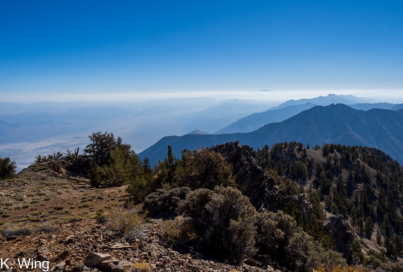 Smoke in the Saline Valley - Mount Charleston in the distance