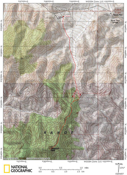 Map of my route to and from Kingston Peak.
