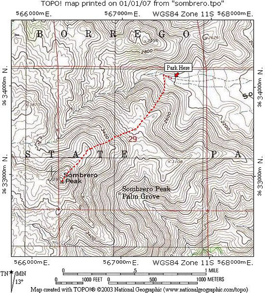 Sombrero Peak Route Map
