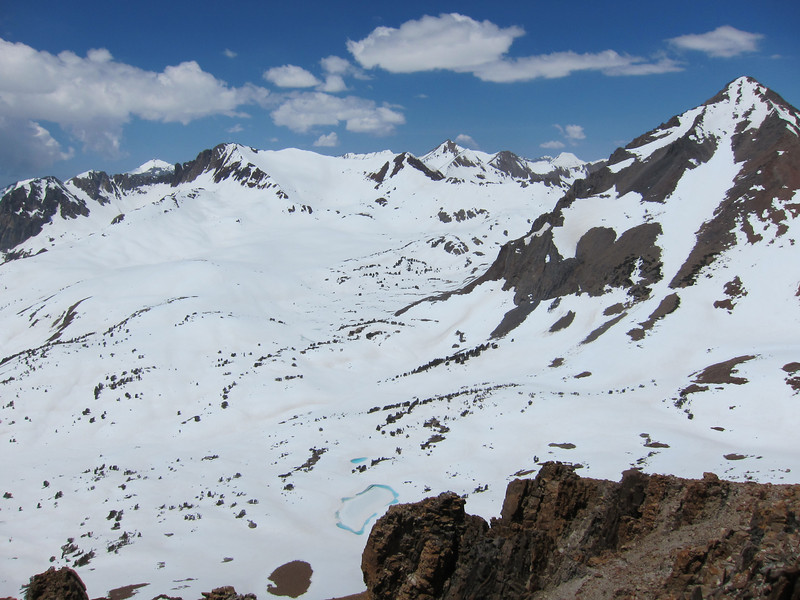 Mount Wynne on the right - Pinchot Pass is behind Wynne. Crater Mountain right of center and Arrow Peak in the distance.