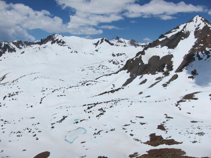 View of where the John Muir Trail heads toward Pichot Pass.