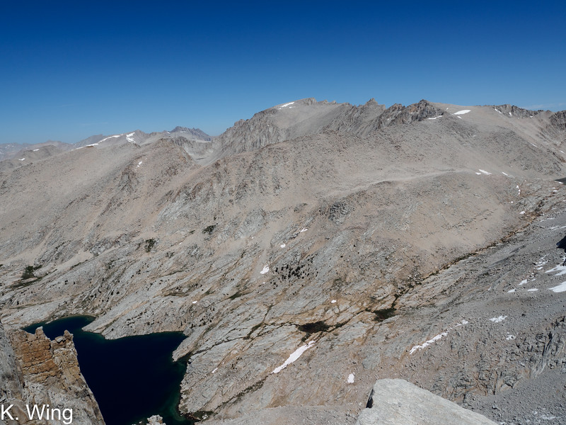 Mount Whitney in the center with Mount Muir next to it.  Mount Hitchcock is above the Crabtree Lake and you can see the horns of Mount Williamson in the distance.