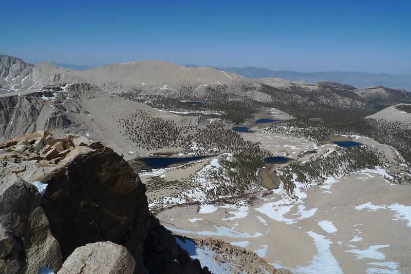 View NE from Cirque Peak - Long Lake, South Fork Lakes, some of the Cottonwood Lakes