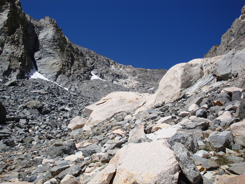 Up the talus.