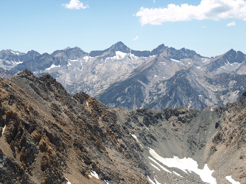 Zoomed in on Mount Brewer - Brewer is flanked by South Guard and North Guard.