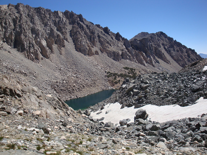 Heading up the slope toward Dragon Peak - the upper Lake and Kearsarge Peak in view as I look back.