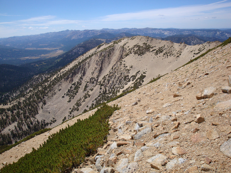 Looking back over at the ridge I climbed up to from Armstrong Pass from over near Freel Peak - I climbed up from the other side of that ridge and then dropped down a little before traversing and climbing the sandy slope to the summit of Freel..