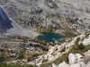 Looking down at Treasure Lakes as I climbed the West Face of Hurd Peak
