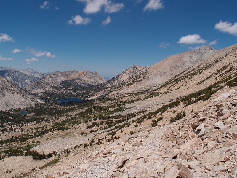 Another view west from Kearsarge Pass.   Mount Bog on the left side above Bullfrog Lake and Mount Rixford on the right side of the photo.