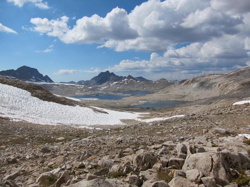 View west from Muir Pass - McDermand and Wanda Lakes