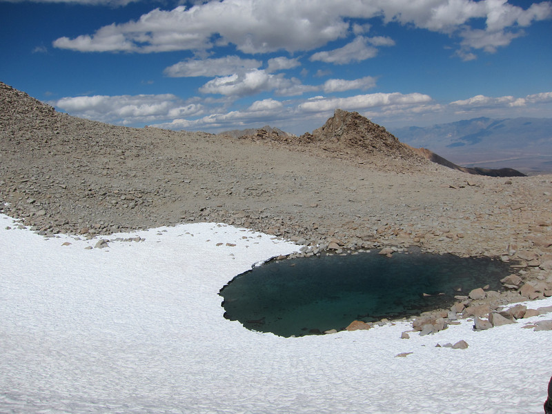 Looking down at the lake on the eastern side of Lamarck Col