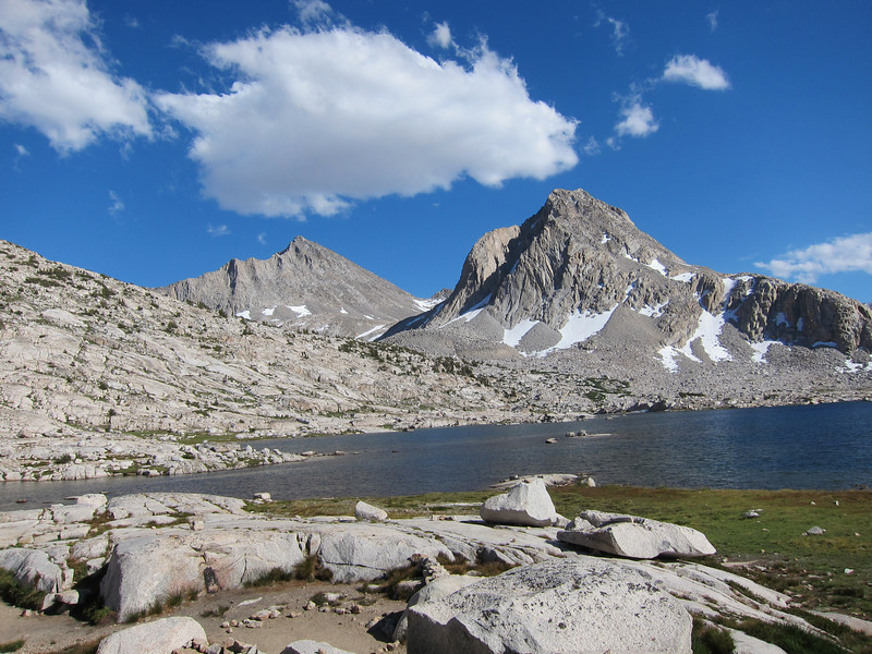 Mount Fiske is left of center and Mount Huxley is right of center -  the lake is Sapphire Lake.
