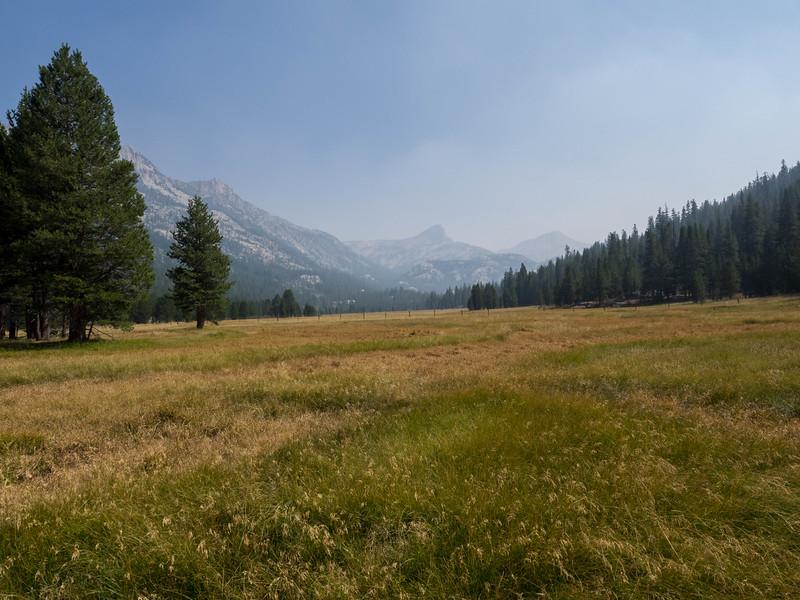 Smoke settled in Piute Meadows