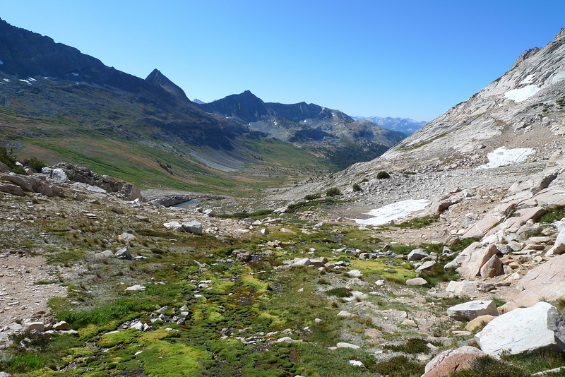 I'm over Horse Creek Pass and heading up Matterhorn's SE slope. This is a view SW down Spiler Creek.