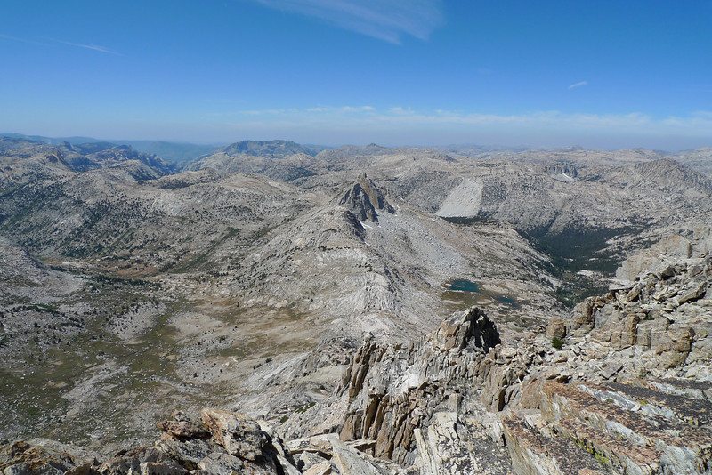 Burro Pass in the Center flanked by Matterhorn Canyon on the left and Slide Canyon on the right. Finger Peaks are in the center behind Burro Pass.