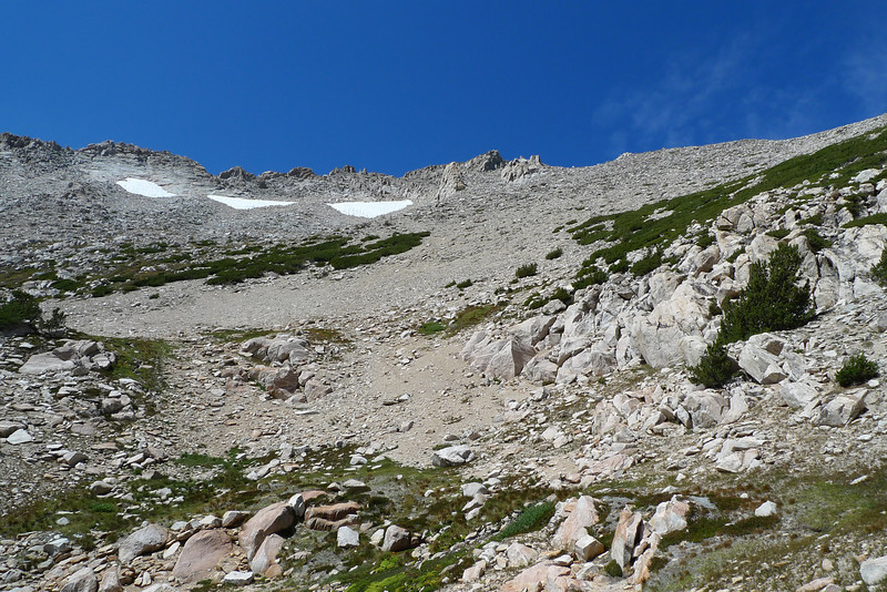 Looking back at the summit in the center of the photo.