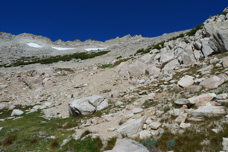 Looking up toward the summit (middle of the photo) from near Horse Creek Pass