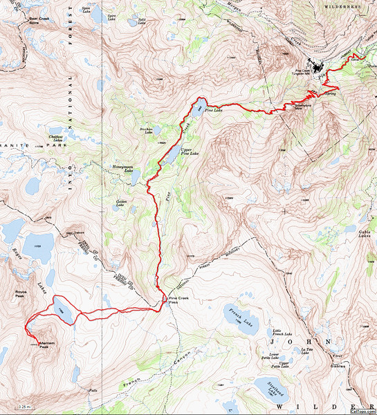 """Map of my route. The Pine Creek Trail used to be a nice trail, but a few years ago they """"fixed"""" it and installed tons of steps along the trail. They even put steps where the trail is gentle. What a mess."""
