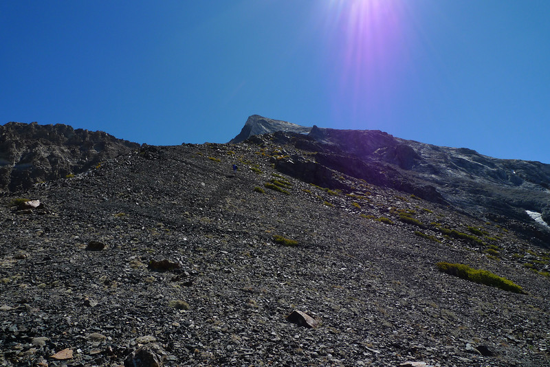 Mount Baldwin is the white bump sticking up in the middle.  First you have to traverse over to the calcite mine and the climb up from there.